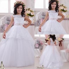 Floor Length Flower Girl Dresses Flower Girl Birthday Party Dress Communion Christening Pageant Ball Gown 2016 New With Bare Back Applique Peplum Bow Covered Buttons Girls Bridesmaid Dress From Whiteone, $78.3| Dhgate.Com