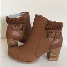 •Ankle Booties• Cognac ankle booties/vegan leather upper/side zipper closure/knitted top shaft at ankle/buckle accent on side/round toe/wooden heel/new in box/thanks for looking•Available in a size 7-7.5-8-8.5•                                                      ❌No Trades❌ Wild Diva Shoes Ankle Boots & Booties
