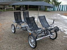 A modern touring 4-wheel recumbent quadracycle – a 2011 model Quattrocycle four seater with canopy[13]