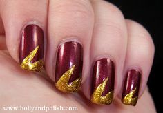 - nails and hair - - Gryffindor! – nails and hair – - Harry Potter Nails Designs, Harry Potter Nail Art, Trendy Nail Art, Cool Nail Art, Animal Nail Art, Nail Art For Beginners, Nails For Kids, Pink Nail Designs, Simple Nails