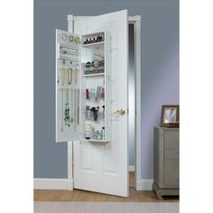Danya B White Over the Door Jewelry and Makeup Cabinet Mirror with