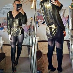 Gold metallic loose top!  Brand new, without tags. Says size XS but good for S too (I'm S). 200% Polyester. Can be worn inside or out. *Belt is not included*  Jessica Simpson Tops Blouses