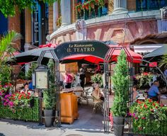 Another reason to visit Quebec City in Spring: Outdoor cafes dressed up with riotous flowers. Image: Ristorante Il Teatro #Quebec #spring