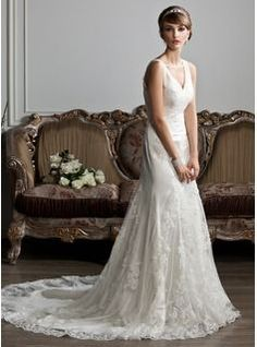 8223b3b52f2b Trumpet/Mermaid V-neck Chapel Train Tulle Wedding Dress With Ruffle Lace  (002012719