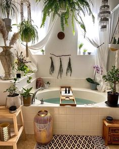 Do you dream of a place to come and unwind at the end of every day?⁠ ⁠ Think about transforming a room in your house into a little oasis of calm. ⁠ ⁠ Side note, if I had this bathroom id never leave ⁠ ⁠ ⁠ Bathroom Inspiration, Home Decor Inspiration, Design Inspiration, Design Ideas, Bohemian Bathroom, Tropical Bathroom Decor, Girl Bathroom Decor, Home Spa, Bathroom Interior Design