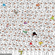 Can you spot the panda?Scroll down to see where the panda is hidden.You've got to find a panda hidden among hundreds of cute snowmen.The puzzle has Image Panda, Ou Est Charlie, Puzzle Photo, Can You Find It, Wheres Wally, Hidden Pictures, Hidden Pics, Hidden Images, Picture Puzzles