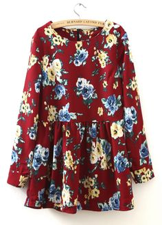 Wine Red Round Neck Long Sleeve Floral Pleated Dress S.Kr.162.54