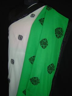 Chiffon saree with embroidery & beaded border. For orders and inquiries, please mail us at naari@aninditacreations.com.  Like our page www.facebook.com/naari.aninditacreations