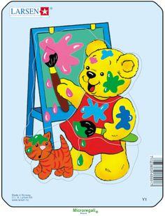 Puzzle per Bambini ORSETTO PITTORE cm 18x14 (5 pezzi). Larsen. - Puzzle, Puzzle in Legno e Giganti - Regali per i BAMBINI