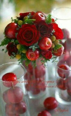 ideas fruit bouquet diy ideas floral arrangements for 2019 Apple Centerpieces, Floral Centerpieces, Wedding Centerpieces, Christmas Centerpieces, Rosen Arrangements, Floral Arrangements, Deco Floral, Floral Design, Red Wedding
