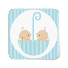 Twins Boys Baby Shower Stickers