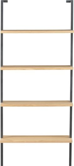 """helix white oak 70"""" wall mounted bookcase in storage   CB2 $199"""