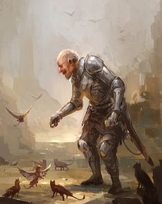 Man feeding griffs by sandara elderly old soldier knight fighter paladin platemail sword griffon gryphon armor clothes clothing fashion player character npc | Create your own roleplaying game material w/ RPG Bard: www.rpgbard.com | Writing inspiration for Dungeons and Dragons DND D&D Pathfinder PFRPG Warhammer 40k Star Wars Shadowrun Call of Cthulhu Lord of the Rings LoTR + d20 fantasy science fiction scifi horror design | Not Trusty Sword art: click artwork for source