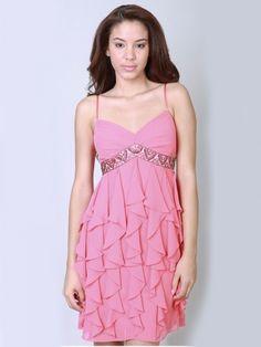 2012 Spring Style Sheath / Column Spaghetti Straps  Beading  Sleeveless Short / Mini  Chiffon Pink Cocktail Dress / Homecoming Dress