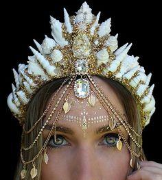 Chelsea's flower crowns Mermaid Crown, Queen Crown, Circlet, Fantasy Dress, Fantasy Jewelry, Tiaras And Crowns, Hair Jewelry, Jewellery, Headdress