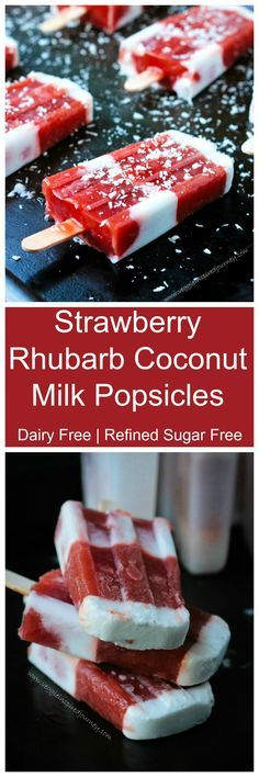 Strawberry Rhubarb Coconut Milk Popsicles - a cool, refreshing, creamy, sweet and tart dairy free summer treat!