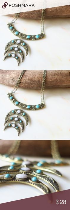 Garden Crescent Bib Necklace Beautiful Crescent Necklace! Burnish Gold ALL Hypoallergenic, Plated, Nickel and Lead Free! Synthetic Turquoise, carved vine and leaf design  Photos are taken by me of ACTUAL product! NWOT Boutique, packaged with care MoonMagicChic Jewelry Necklaces