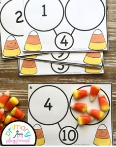 Candy Corn Number Bond Task Cards 1-10 Center