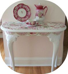 Pink rose furniture, pink furniture, mosaic demi lune table     www.RomancingTheRoseStudio.com ©Website Design by: OneSpringStreet.NET 2011