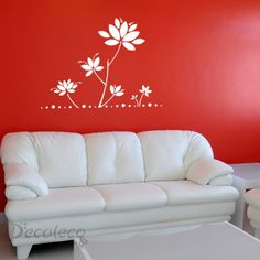 Lotus-Inspired Flowers Wall Decals (1 Color) | Decaleco #decals_for_walls #floral_stencils_for_walls #bedroom_stickers #flowers_decals_for_walls #wall_clings #removable_wall_decals #wall_stencils #wall_stickers_for_bedrooms #lotus_flower_decals #large_wall_art #flower_wall_decals #flower_wall_stickers