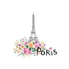 Floral Paris sign with flowers, Eiffel tower. Torre Eiffel Vector, Torre Eiffel Paris, Paris Wallpaper, Sunset Wallpaper, Iphone Wallpaper, Paris Decor, Paris Art, Paris Background, Eiffel Tower Painting