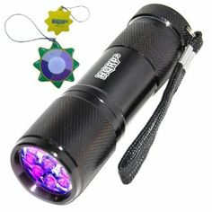 HQRP Longwave 9 LED UV Flashlight 365 nm Wavelength for Room Inspections plus HQRP UV Tester by HQRP. $19.91. Grate for Room, Mineral Inspection, Security Control, Rodent, Leak Detection;. Art Forgery/Repair Tests. 200 days Warranty!. LEDs: 9, Wavelength: 365-370 Nanometer; Powered by 3 x AAA batteries (not included);. Aluminium Body, Water Resistance, Light on By on/off Switch;. HQRP® 365 nM UV LED Flashlight + HQRP® UV Chain / UV Radiation Health Tester;. HQRP 9 LED UV f...