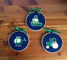 Transportation Nursery Decor ~ Baby Nursery Hoop Art Wall Hangings Room Decor Signs Plaques ~ Green Boat Helicopter Tractor