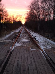 Beautiful rustic sunset at the railroad tracks.