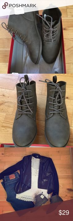 NWT grey boots, size 7.5 Brand new suede-like warm gray boots Shoes Ankle Boots & Booties