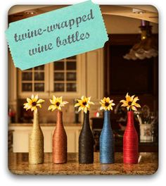 #Twine-wrapped wine bottles :) #HomeDecor #Upcycle