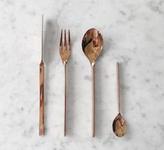 The Minimalist - copper stainless steel cutlery set//