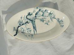 assiette cr favori rouge sarreguemines digoin 19e oiseaux insecte antique plate vaisselle. Black Bedroom Furniture Sets. Home Design Ideas