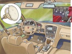 Car parts inside a car vocabulary. English lesson in PDF free