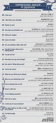 Infographic: expressing anger in Japanese part 2. http://japanesetest4you.com/infographic-express-anger-japanese-part-2/