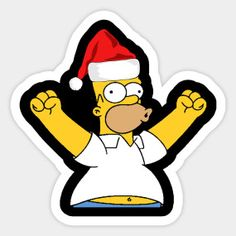 Shop Homer Simpson Santa Hat Ugly Christmas Day homer simpson santa hat ugly christmas day stickers designed by BHDOTCOM as well as other homer simpson santa hat ugly christmas day merchandise at TeePublic. Christmas Card Images, Christmas Card Crafts, Christmas Stickers, Christmas Art, Christmas Shirts, Simpsons Characters, Simpsons Art, Tumblr Stickers, Cute Stickers