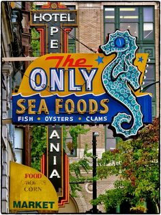#VintageSign, Vancouver BC, Old neon seahorse. The Only Seafoods, Fish, Oysters, Clams.