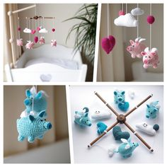 crochet baby mobile with flying pigs in blue and pink shades