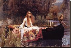 Lady of Shalott Stretched Canvas Print by John William Waterhouse at Art.com