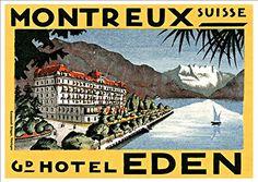 'Montreux - Switzerland - Grand Hotel Eden' - A4 Glossy Art Print Taken From A Rare Vintage Travel Poster by Vintage Travel Posters http://www.amazon.co.uk/dp/B01BHMCQMY/ref=cm_sw_r_pi_dp_aEgTwb0QZGK1N