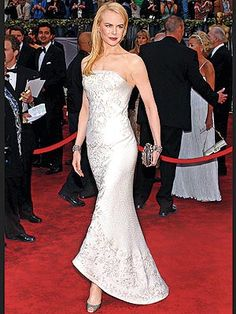 Looking positively regal, the star shone in an embroidered Balenciaga gown at the Oscars in February 2006.