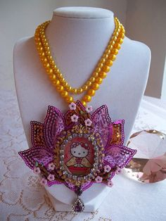 vintage pearl asian kitty necklace by gumdropglamour on Etsy, $55.00
