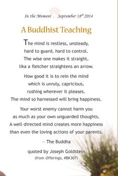 A Buddhist Teaching from Offerings- Quoted by Joseph GoldStein