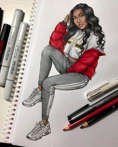 8530 Likes 63 Comments Natalia Madej (Natalia Madej Chrzanowska) on Instagra Black Love Art, Black Girl Art, Art Girl, Fashion Design Drawings, Fashion Sketches, Art Sketches, Tumblr Drawings, Girly Drawings, Black Girl Cartoon