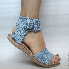 Sandals knitted, boho, blue, cotton - buy or order in an online store at the Fair Masters - Crochet Sandals, Crochet Boots, Crochet Slippers, Crochet Clothes, Knit Crochet, Crochet Shoes Pattern, Shoe Pattern, Crochet Patterns, Tongs Crochet
