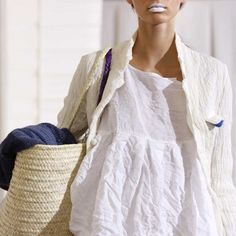lovely linen and cotton clothes: not sure about the white lipstick, though......