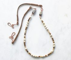 Long Handmade Beadwork Strand Necklace, Leather Beaded Wrap Bracelet, White & Brown Stones with Copper, Bohemian Necklace, Earthy Jewelry,    A