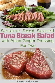 Sesame Seed Tuna Steak Salad is easy with thick tuna steaks coated in sesame seeds, and quickly seared. The tuna steaks are sliced thin served on a bed of mixed salad greens and topped with a delicious Asian ginger dressing. Fresh Tuna Recipes, Healthy Steak Recipes, Fish Recipes, Seafood Recipes, Recipes For Tuna Steaks, Cooking Tuna Steaks, Healthy Food, Healthy Nutrition, Chicken Recipes