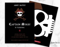 Pirate Party Invitation, Pirate Birthday Invitation, Pirate Party Invite, Pirate Invitations, Skull Birthday Invitation, Boys Invite by StudioOne16 on Etsy https://www.etsy.com/listing/512457332/pirate-party-invitation-pirate-birthday