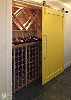 Wine closet sliding barn door.