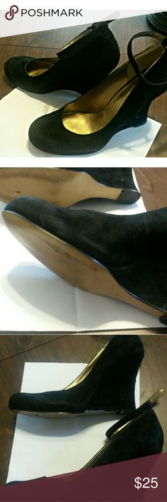 Nine West Black Suede Wedges Ankle Strap 8.5 Beautiful.  Great condition. Size 8.5 medium. Smoke free Nine West Shoes Wedges
